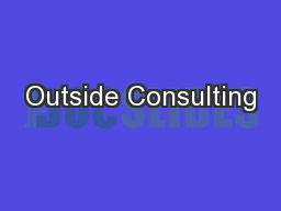 Outside Consulting