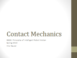 Contact Mechanics PowerPoint PPT Presentation