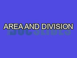 AREA AND DIVISION