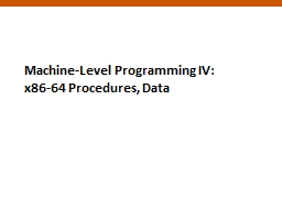 1 Machine-Level Programming IV: