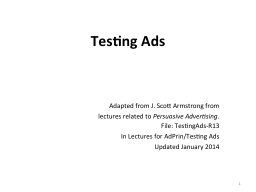 Testing Ads PowerPoint PPT Presentation