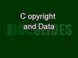 C opyright and Data
