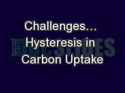Challenges… Hysteresis in Carbon Uptake
