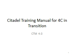 Citadel Training Manual for 4C in Transition