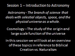 Session 1 – Introduction to Astronomy
