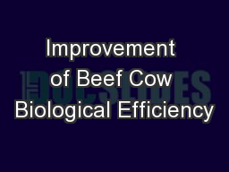 Improvement of Beef Cow Biological Efficiency PowerPoint PPT Presentation