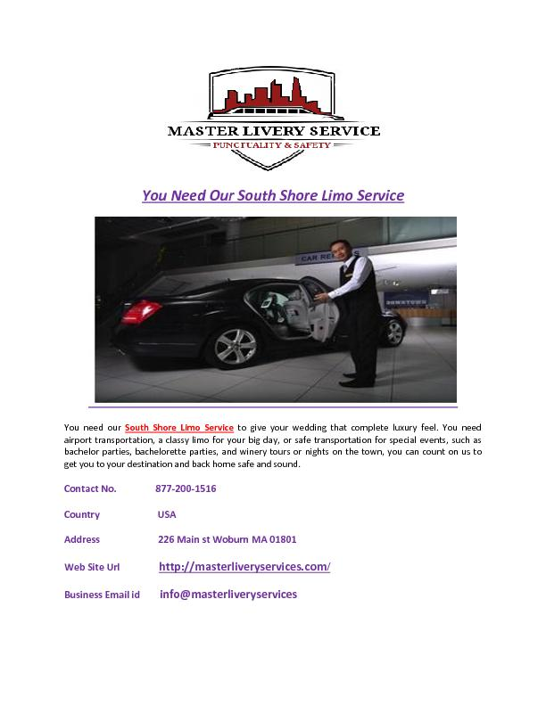 You Need Our South Shore Limo Service