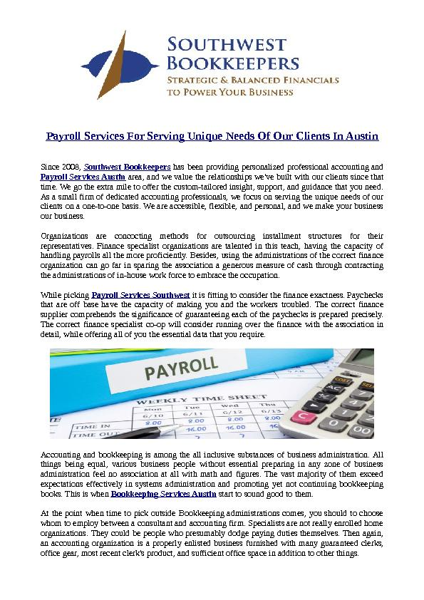 Payroll Services For Serving Unique Needs Of Our Clients In Austin