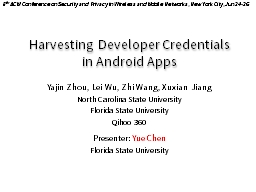 Harvesting Developer Credentials in Android Apps