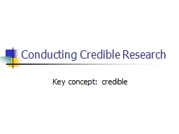 Conducting Credible Research
