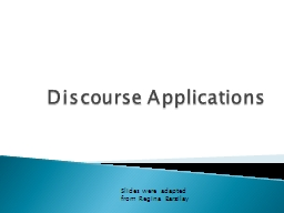 Discourse Applications