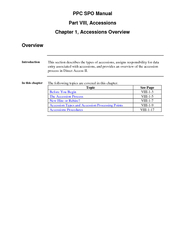 PPC SPO Manual Part VIII Accessions Chapter  Accession