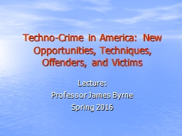 Techno-Crime in America: New Opportunities, Techniques, Off