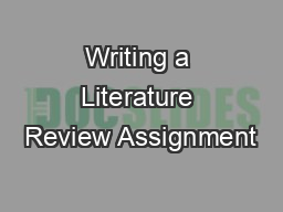 Writing a Literature Review Assignment
