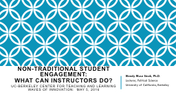 Non-traditional student engagement: