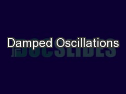 Damped Oscillations PowerPoint PPT Presentation