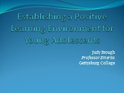 Establishing a Positive Learning Environment for Young Adol