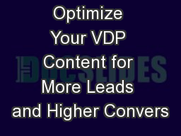 Optimize Your VDP Content for More Leads and Higher Convers