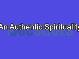 An Authentic Spirituality