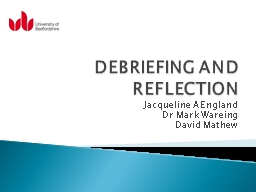 DEBRIEFING AND REFLECTION PowerPoint PPT Presentation
