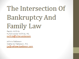 The Intersection Of Bankruptcy And Family Law