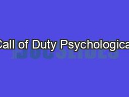 Call of Duty Psychological