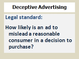 Deceptive Advertising  PowerPoint PPT Presentation