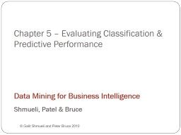 Chapter 5 – Evaluating Predictive Performance PowerPoint PPT Presentation
