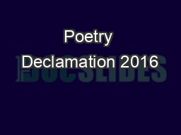 Poetry Declamation 2016
