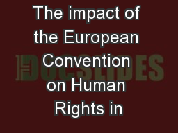 The impact of the European Convention on Human Rights in