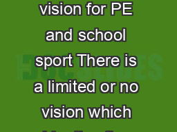 Questions Emerging Established Embedded Does your school have a vision for PE and school sport There is a limited or no vision which identies the potential for a whole school approach to or recognises