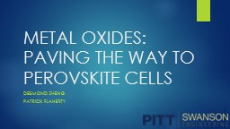 METAL OXIDES: PAVING THE WAY TO PEROVSKITE CELLS PowerPoint PPT Presentation