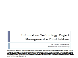 Information Technology Project Management – Third Edition PowerPoint PPT Presentation