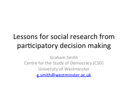 Lessons for social research from participatory decision mak