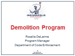 Demolition Program