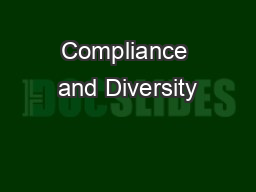 Compliance and Diversity PowerPoint PPT Presentation