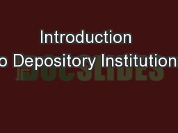 Introduction to Depository Institutions PowerPoint PPT Presentation