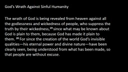 God�s Wrath Against Sinful Humanity