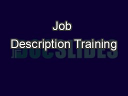 Job Description Training PowerPoint PPT Presentation