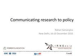 Communicating research to policy