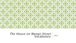 The House on Mango Street PowerPoint PPT Presentation