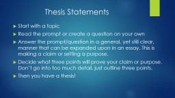 Thesis Statements PowerPoint PPT Presentation
