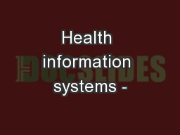 Health information systems -
