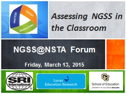 Assessing NGSS in the Classroom