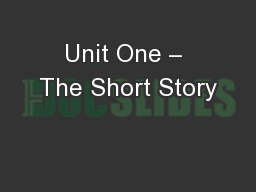 Unit One – The Short Story