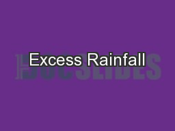 Excess Rainfall