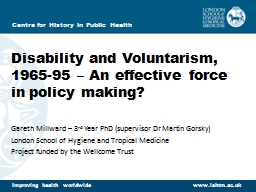 Disability and Voluntarism, 1965-95 – An effective force