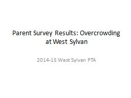 Parent Survey Results: Overcrowding at West Sylvan