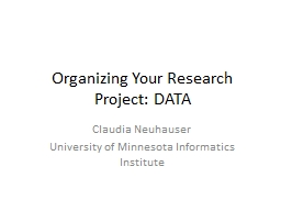 Organizing Your Research Project: DATA