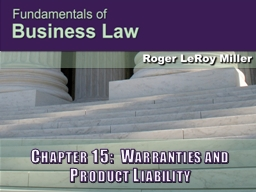 Chapter 15:  Warranties and